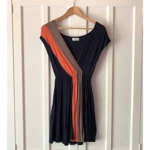 Navy, Orange, & Tan Colorblock Sundress